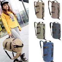 Wholesale leather travel bag for sale - canvas Barrel backpack large travel Climbing backpack male computer multi function backpacks PU leather round duffle bag Colors GGA692