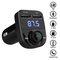 Wholesale Bluetooth FM Transmitter Darythem Wireless In Car FM Transmitter Radio Adapter Car Kit Universal Car Charger with A Dual USB Charging P