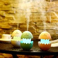luzes de ovo conduzidas venda por atacado-USB Mini Umidificador de Ovo com Colorido LED Luz Portátil Aroma Difusor de Aroma Difusor Auto Shut-off Umidificador para Casa Car Office