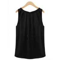 Wholesale sexy clothing for female online - Tank Tops Women Loose Casual Chiffon Solid Sleeveless Vest All match Sexy Basic O neck Tops For Women Female Clothing KH811831
