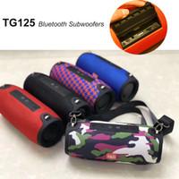 tragbare trommel großhandel-10W Bluetooth Subwoofer Hifi Lautsprecher mit Lanyard Outdoor Tragbare Soundbox Lautsprecher Drum Ladung Wasserdichte Spalte FM Music Player TG125
