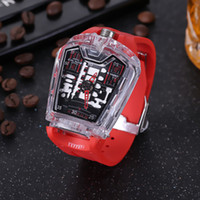 Wholesale animal shaped cases - hot automatic watch, high-grade HB watch, model watch, transparent plastic case, rubber strap, comfortable and durable folding pin buckle
