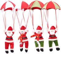 fallschirmspringende weihnachtsdekoration großhandel-Weihnachtsbaum hängende Dekor Fallschirm Schneemann Weihnachtsmann Puppe gefüllte Anhänger Ornamente Dekorationen Weihnachtsgeschenk 4 Farben WX9-973