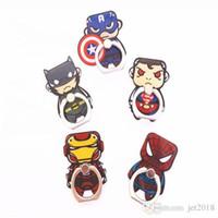 halter silikon tablette großhandel-Superheld Spiderman Iron Man Beschriftung Silikon Finger Telefonhalter Griff Stent für Smartphones Tablets Flexible Standring Halter
