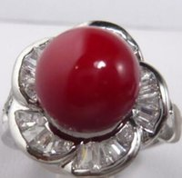 Wholesale beads ring china for sale - Group buy Fine red sea shell pearl bead KGP ring