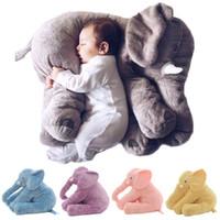 bebek yılbaşı dekorasyonları toptan satış-Bebek Yastık Fil Besleme Yastık Çocuk Odası Yatak Dekorasyon 53 cm Bebe Yatak Beşik Araba Koltuğu Çocuk Peluş Oyuncaklar Noel Hediyesi