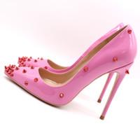 salto alto com ponta rosa venda por atacado-Frete grátis moda feminina bombas rosa de couro cravejado de pontas ponto dedo do pé de salto alto sapato cone calcanhar sandálias de salto fino