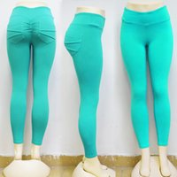Wholesale ladies color pink yoga pants for sale - New Trend Pure Color Pocket Decorative Yoga Pants Lady Lifting Hip Slim Exercise Bottomless Trousers