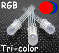 5 mm rgb led diffuse achat en gros de-50pcs 5mm RGB LED 4pins Blanc Diffuse led 5mm Common Cathode RGB Lentille lentille blanche tricolore rouge, bleu, vert