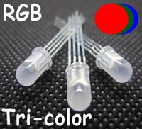 5mm rgb led difuso al por mayor-50pcs 5mm RGB LED 4pins Blanco Difundido led 5mm Common Cathode RGB blanco lechoso lente tricolor rojo, azul, verde