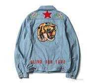 Wholesale Purpose Design - Top Quality Tiger Embroidery Men's Jeans Jackets designer purpose Blue Design European Style Hip Hop Men Women Denim Jacket