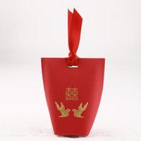 chinesischen traditionellen süßigkeiten-box großhandel-Hochzeits-Geschenk-traditionelle chinesische rote Pralinen-Kasten mit Band-Elster-Goldfolien-Hochzeits-Bevorzugungs-Geschenk-Kasten ZA6929