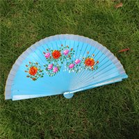 Wholesale photographic prop wholesalers online - Single Side Hand Painted Fan Craft Wedding Party Favor Retro Dance Photographic Props Wood Folding Fans Designer sz Ww