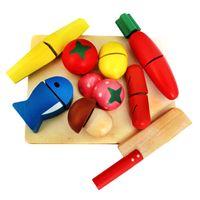 çocuklar mutfak yiyecek seti toptan satış-Ahşap Mutfak Kesme Oyuncak Meyve ve Sebze Seti Çocuk Çocuk Gıda Pretend