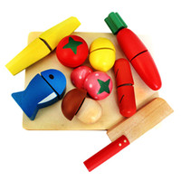 Wholesale wood toy vegetables resale online - Wooden Kitchen Cutting Toy Fruit and Vegetable Set Kids Children Pretend Food