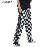 calças de leopardo branco preto venda por atacado-NYOOLO Hip hop design streetwear calças Zebra Leopardo Preto Branco Xadrez patchwork Listrado em linha reta Calça Casual mulheres / homens