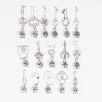 european tibetan style beads achat en gros de-Mixte CLÉS Styles Tibétain Argent GRAND TROU Européen Perles Fit pour Charms Bracelets Fabrication de Bijoux DIY À La Main