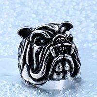 animal pei venda por atacado-Retro Animal Francês Animal Cão Bulldog Anel 2018 Novo Bonito Shar Pei Punk Masculino Anéis de Dedo EUA 7-12 Homens Engraçados Anel Envoltório Melhor Presente