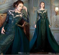 Wholesale Emerald Green Jacket - Modest Emerald Hunter Green Long Sleeve Prom Formal Dresses with Detachable Train 2018 Luxury Lace Beaded Mermaid Evening Wear Dress