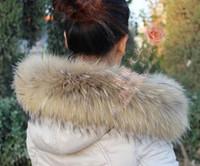 aquecedores de pele venda por atacado-Real Fur Cachecol Jaqueta Gola De Pele Mulheres Inverno Casaco Cachecóis De Luxo Guaxinim Inverno Neck Aquecedores C001-80X14 cm