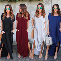Wholesale plus size casual clothes - 10 colors Women Summer dresses Clothes Stylish Pullover Maxi Dress A type knit Casual Long Dress Short Sleeve Backless Lady Clothing Pocket