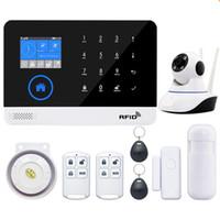 seguridad gprs al por mayor-EN RU ES PL DE Conmutable Wireless Home Security WIFI GSM GPRS Sistema de alarma APP Remote Control RFID card Arm Desarme