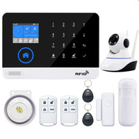 Wholesale wireless wifi door alarm for sale - Group buy EN RU ES PL DE Switchable Wireless Home Security WIFI GSM GPRS Alarm system APP Remote Control RFID card Arm Disarm