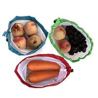 ingrosso verdure nere-5 Pack Borse prodotti riutilizzabili Corda nera Mesh vegetale Giocattoli da frutto Custodia Pouch durevole in poliestere resistente alla luce