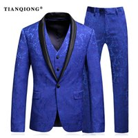 Wholesale Stage Wear Jackets - Wholesale-TIAN QIONG Mens Wedding Suit 2017 Man Slim Fit Business Suit Printed 3 Piece Groomsmen Suits Tuxedo Jacket Prom Stage Wear