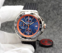 Wholesale calibre 16 sapphire - 2018 Luxury Brand Quartz Movement Watch Men Calibre 16 F1 Blue Black Dial Rubber Band Chronograph Watch Montre Homme