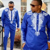 ingrosso abiti da sposa in biancheria bianca-Set di pantaloni da uomo Dashiki set di 2 pezzi Set di abiti da uomo africani 2018 abbigliamento da donna africano ricco per camicia da uomo con pantaloni