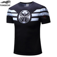 Wholesale green army men costume - New 2018 Men Casual Comics Superhero Costume Shirt Jersey Tops T-Shirts soldier Marvel T shirt Costume Comics mens size xs-4xl