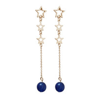 Wholesale blue sandstone - Sandstone Beads Tassel Earrings Fashion Accessories Gold Color Star Ball Long Dangle Earrings for Women and Girl Aretes de mujer