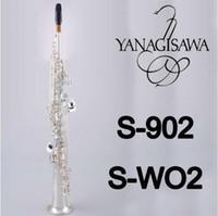 pirinç tüpler toptan satış-YANAGISAWA S-WO2 S-902 Soprano B (B) Düz Tüp Saksafon Ağızlık Kılıf Ile Marka Kalite Pirinç Gümüş Kaplama Aletleri