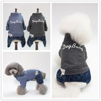 Wholesale leg jacket for sale - S XL pet dog costume autumn winter thick dog clothes warm dogs apparel four legged cotton padded clothes Teddy Bicon coat AAA1329