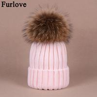 Wholesale Furlove Real Raccoon Fur Women s winter Hat Genuine Fur Pompom Women Knitted Bobble Ski Hat Cap Winter Hats for women skullies