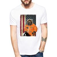 urso rindo venda por atacado-Charme duradouro Laughing Astro Urso T-shirt Dos Homens de manga Curta homens O Mais Feliz Urso Retro Impresso Camisetas Casual Engraçado Tops