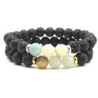 ingrosso fili amazonici-New Amazonite Stone Beads Bracelet Volcanic Lava Stone Diffusore di oli essenziali Bracciali Healing Balance Yoga Strand per Uomo Donna
