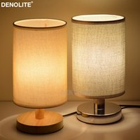 Wholesale small bedside table lamps - DENOLITE European Style Small Table Lighting Lamp Linen Bedside Lamps For Home Hotel Store Decorative Night Light Tischleuchte