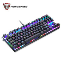 Wholesale red computer keyboard - Original Motospeed CK101 Wired Mechanical Keyboard Metal Keys RGB Blue Red Switch Game LED Backlit Anti Ghosting for Computer