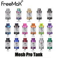 atomizador de doble tanque al por mayor-100% original Freemax Mesh Pro Tank 5 ml 6 ml Bombilla Vidrio Fibra de carbono Resina Sub Ohmio Doble malla Bobina 510 Atomizador de hilo Auténtico