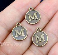 Wholesale bronze alphabet letters for sale - Group buy whole sale50pcs Antique Bronze Tone Alphabet Letter M Charms Pendant x12mm