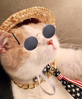 Wholesale led sunglasses online - Pet Fashion Accessories Sunglasses Retro Straw Hat Dog Gold Necklace Bell Collar Collar Cat Tie