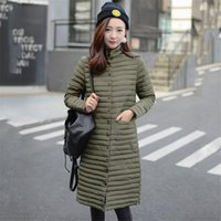 Wholesale womens jacket size large - New Womens Coon Self-cultivation Stand-collar Long Down Jacket Fashion Large Size Padded Coat For Female 2017 Autumn Winter