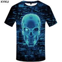 punkmetallt-shirts großhandel-KYKU Galaxy T Shirt Männer Schädel T-shirt Metall Punk Rock Kleidung Mechanische 3d Druck T-shirt Casual Raum Herren Kleidung Sommer Tops