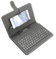 футляры для сотовых телефонов android оптовых-Мобильный сотовый телефон Micro USB клавиатура обложка для Android мягкий PU кожаный защитный чехол стенд защитный чехол A001