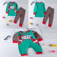 ingrosso pigiama-Cartoon Family Matching Outfit Natale Home Pigiama Stampato Babbo Natale Pupazzo di neve Maniche lunghe Cellulare Stripe Pants Tuta da bambino