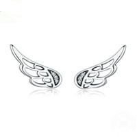 pendientes de ala de hadas al por mayor-Genuino 100% 925 de plata esterlina alas de hadas de la pluma Stud pendientes de plata para mujer joyería de plata de moda YMSCE343