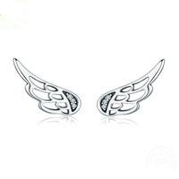 ingrosso orecchini di ala fata-Orecchini in argento 925 con perle di fiaba autentiche al 100% in argento sterling 925 per le donne Gioielli in argento moda YMSCE343