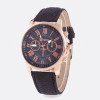 Discount women watches sale geneva - Hot sales Unisex Geneva Leather PU Quartz Watches Men Women fashion casual Roma Men's Watch Casual dress rose gold wrist watches